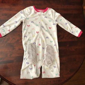 Carters 5T fleece footie bow pajamas